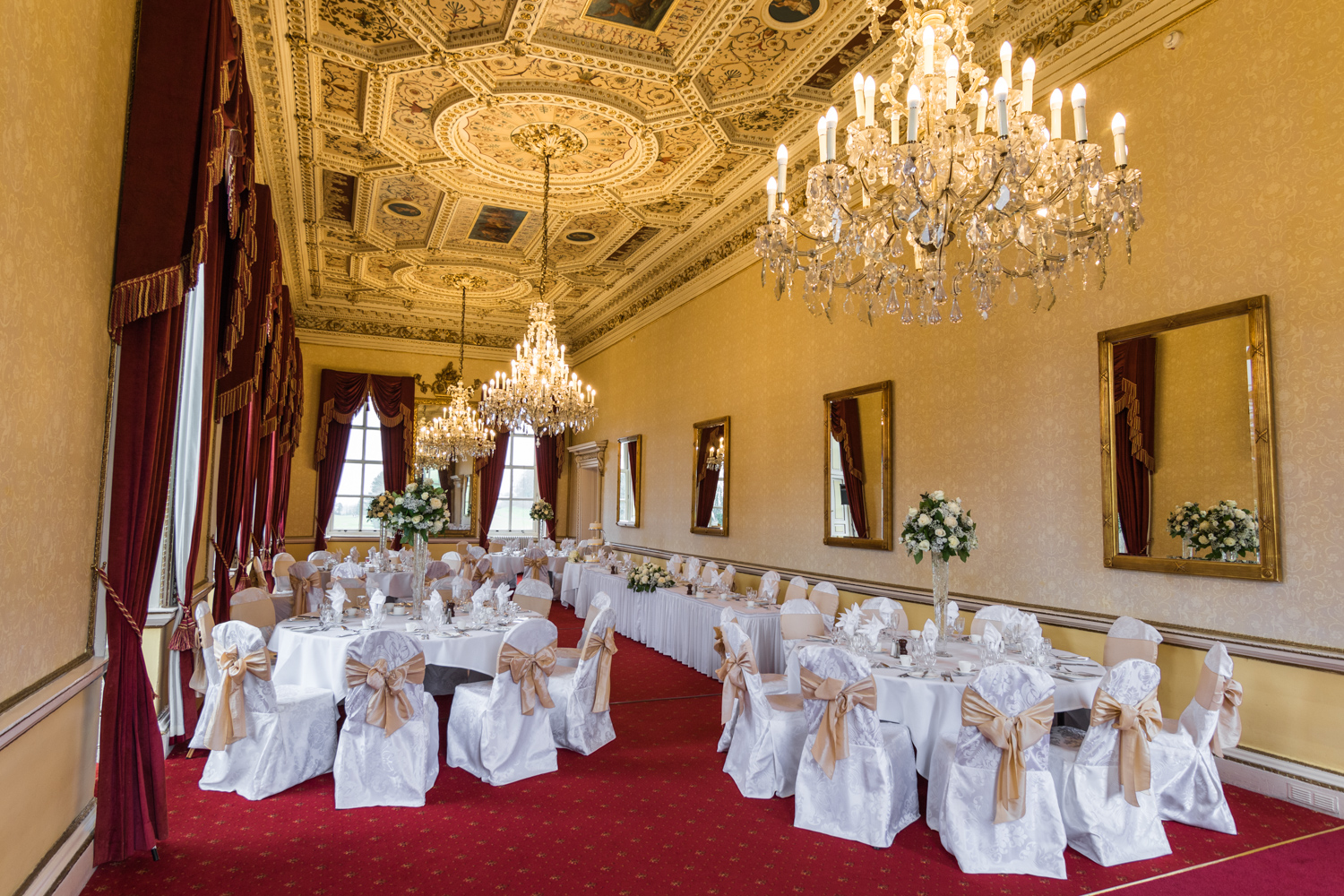 Main Dining hall decorated for Wedding