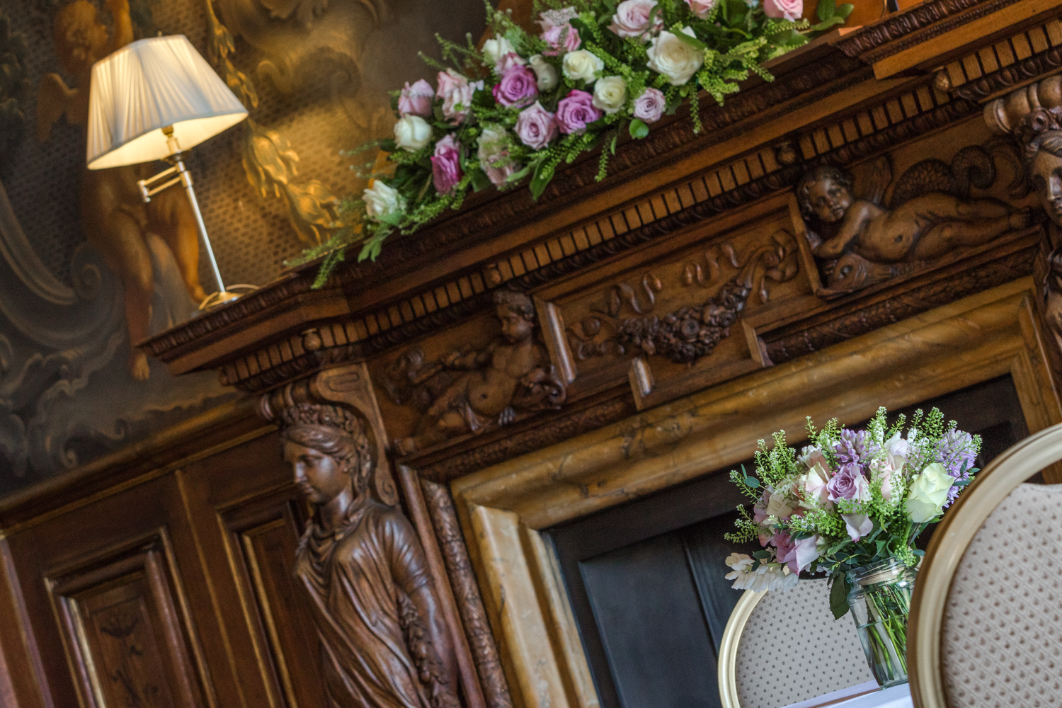 funeral bouquet on fireplace