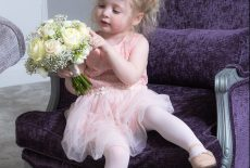 Flower girl in bridal room