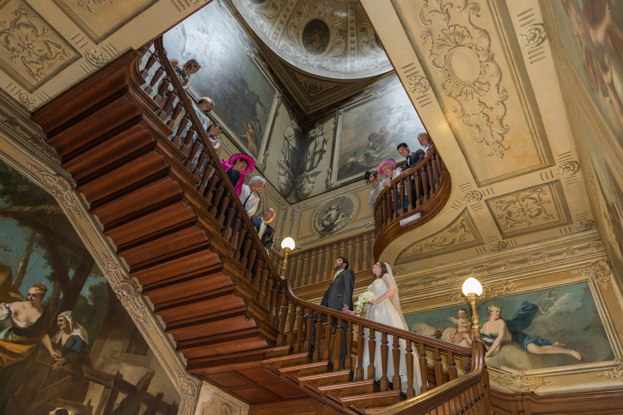 Wedding couple on Stair Case